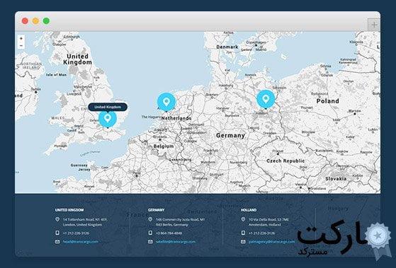 مشخص کردن چند نقطه روی نقشه گوگل با قالب حمل و نقل و باربری Transcargo